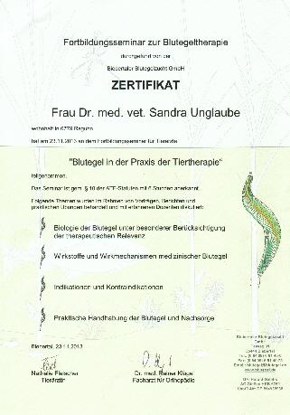 Blutegeltherapie Tierarztpraxis-Raguhn Dr. S. Unglaube