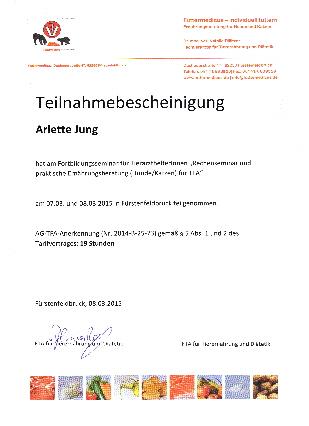Arlette Jung Errnährungsberatung Rationsberechnung Tierarztpraxis Raguhn